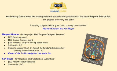 2021 Science Fair results - Maryam + Kori
